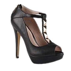 Aldo Black Leather T-Strap Gold Studded High Heels